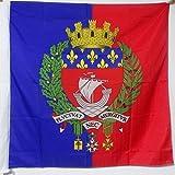 DRAPEAU VILLE DE PARIS AVEC ARMES 90x90cm - DRAPEAU PARISIEN AVEC ÉCUSSON - ARMOIRIES 90 x 90 cm Fourreau pour hampe - AZ FLAG