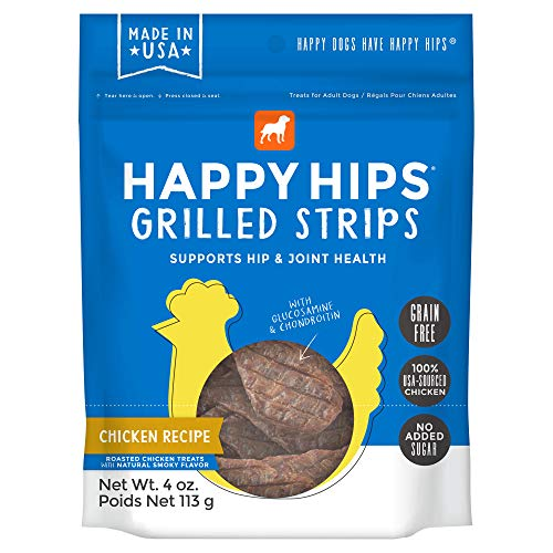 (Happy Hips Chicken Grilled Strips, Grain Free Dog Treats with Glucosamine & Chondroitin, Made in USA, 4 oz)