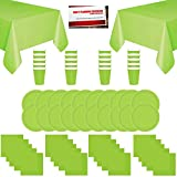Kiwi Lime Solid Color Party Supplies Bundle Pack for 20 - Plates, Cups, Napkins and Table Covers (Plus Party Planning Checklist by Mikes Super Store) (Kiwi Lime)