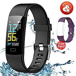 Juboury Fitness Tracker HR, Activity Tracker Watch Heart Rate Monitor, Waterproof Smart Bracelet Step Counter, Calorie Counter, Pedometer Watch Kids Women Men, Android & iOS (Black)