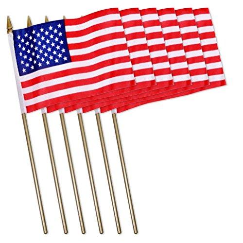 Universal Souvenir Mini USA Patriotic American US Stick Flag (4x6) Pack of 6 (Flag Usa Stick)