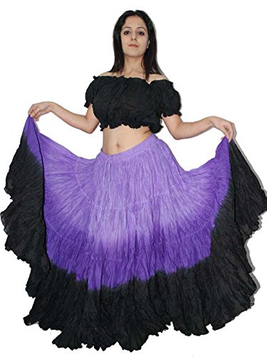 Wevez Women's ATS Tribal Dip Dye 25 Yard Skirt, One Size, Lilac/Purple/Black]()