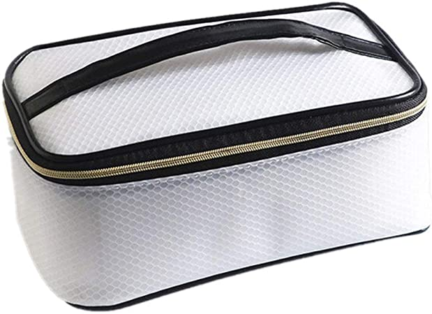 Bolsa de cosméticos Estuche de tocador de cosméticos para Mujer Estuche de tocador con Patrones Zipped Organizer Storage Pouch Bolsa de Maquillaje portátil (Color : White): Amazon.es: Hogar