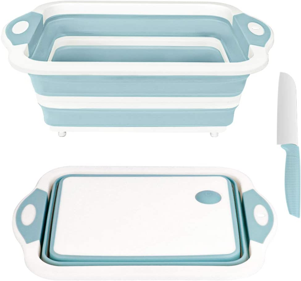 Rottogoon Collapsible Cutting Board, Foldable Chopping Board with Colander, Multifunctional Kitchen Vegetable Washing Basket Silicone Dish Tub for BBQ Prep/Picnic/Camping(Light Blue)