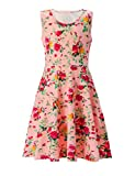 UNIFACO Girl's Floral Dress All Over Print Sleeveless Holiday Dress, 6-7 T