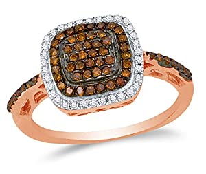 Size 5 - 10K Rose Gold Chocolate Brown & White Round Diamond Halo Circle Engagement Ring - Prong Set Square Princess Center Setting Shape (1/3 cttw.)