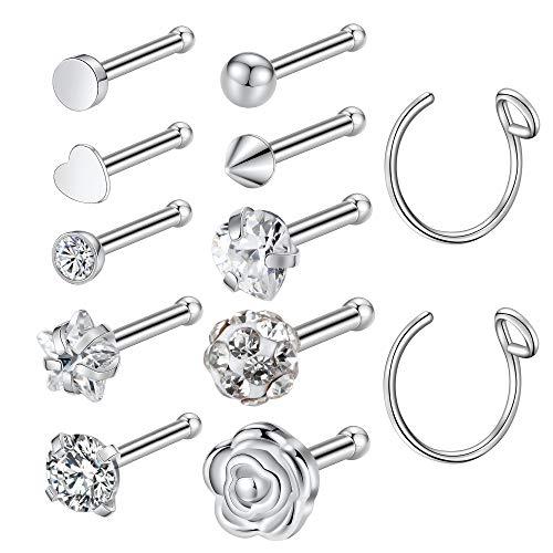 Kangyijia 20G 12Pcs Nose Bone Pin Studs Surgical Steel Flower Nostril Studs Nose Screw Heart Nose Ring Hoop Body Piercing