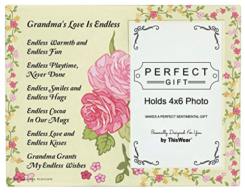Grandma Gifts for Christmas Grandma's Love is Endless Grandma Poem Glass Picture Frame 4x6 Frame