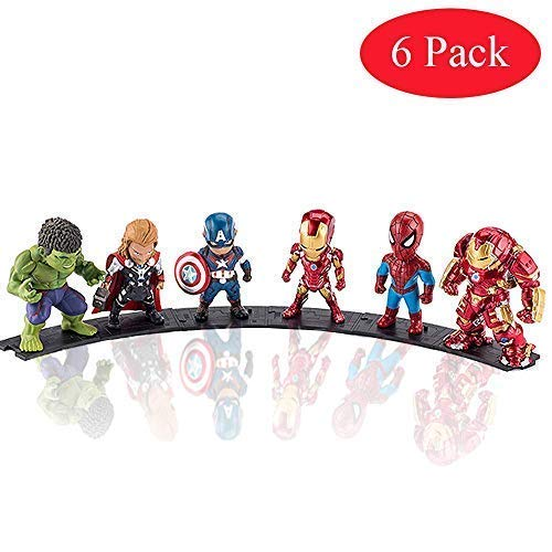 Action Figures Infinity war 6 Figure Set Titan Super Hero Series Exclusive-Iron Man Hulk Thor Spider-Man Captain America Hulkbuster Car Decoration -