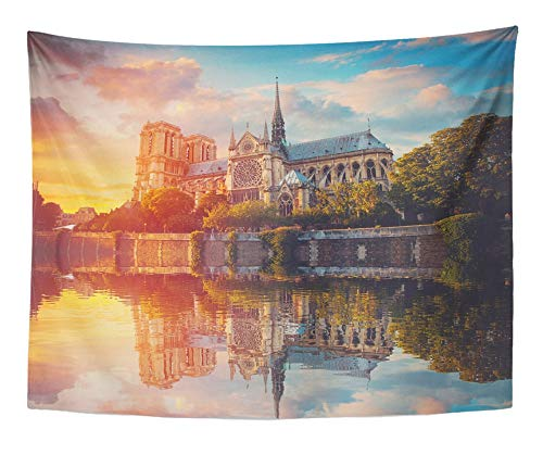 Emvency Tapestry Artwork Wall Hanging Green History Sunset Notre Dame De Paris France Europe Sky Architecture Attraction 60x80 Inches Tapestries Mattress Tablecloth Curtain Home Decor Print