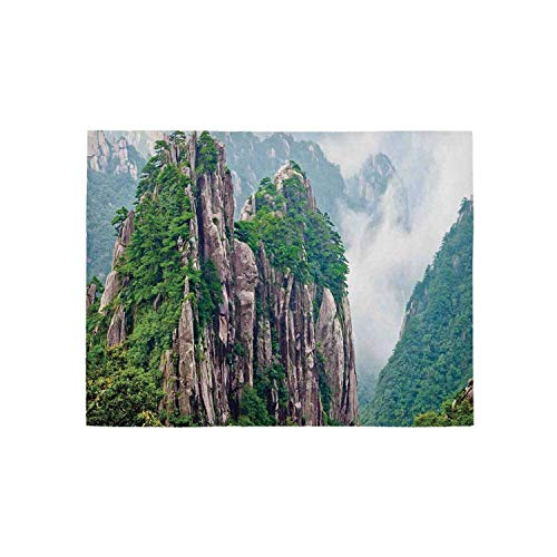 - Apartment Decor Utility Area Rug,Sacred Majestic Slim Mountains Rocks in Clouds South Asian Chinese Nature Photo for Home,63