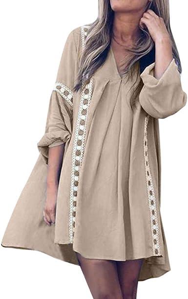 Moda Mujer Hermoso Vestidos Faldas Algodon Otoño Invierno De Vuelta a la Escuela Casual Vestido Holgado con Cuello en V y Costuras de Encaje de Manga Larga: Amazon.es: Ropa y accesorios