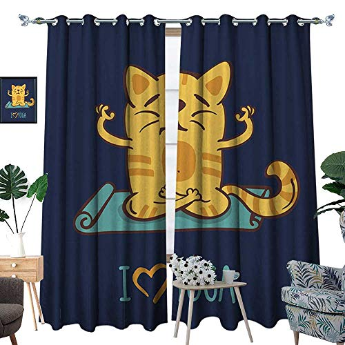 Animal Window Curtain Drape Love Yoga Theme Cute Cartoon Cat Exercise Mat Lotus Position Decorative Curtains for Living Room Dark Blue Pale Blue Yellow