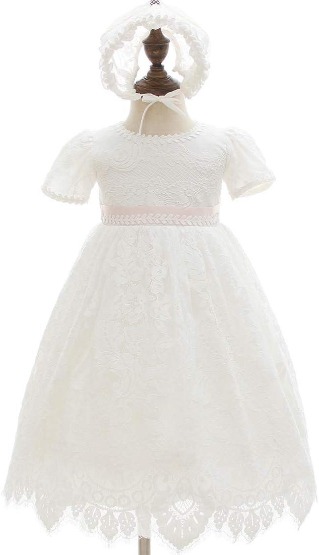 AHAHA 0 /à 24 Mois 3 Mois B/éb/é Fille Robe de bapt/ême Blanc 0-6 Mois