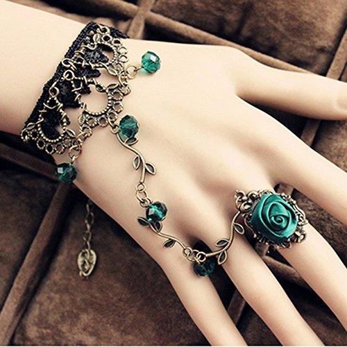 (Spritech(TM) Women's Girls Fashion Adjustable Vintage Retro Black Lace Green Gems Chain Tassel Crystal Bracelet Slave Finger Ring Hand Harness)