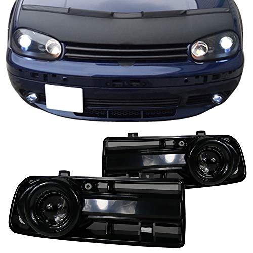 Fog Lights Fits 1999-2005 MK4 VW Golf/GTI | Black Projector Fog Lamps Left Right by IKON MOTORSPORTS