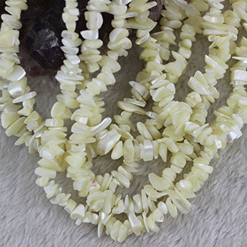 - 5-8mm Mother of Pearl Shell Chips Chip Beads Loose Gemstone Beads for Jewelry Making Strand 35 Inch