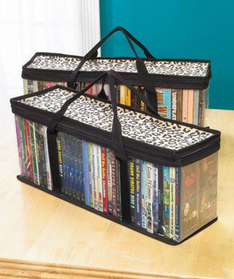 Set of 2 DVD Storage Bags - Holds 40 DVD's Each - 80 Total (Leopard)