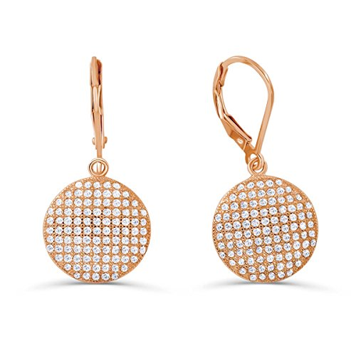 PRJewel Rose Gold Plated 925 Silver CZ Dot Micro Pave Setting Earrings