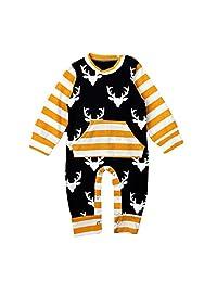 Baby Boys Girls Deer Pattern Hoodie Rompers Toddler Christmas Bodysuits Overall