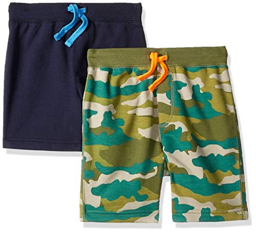 LOOK by Crewcuts Boys' 2-Pack Knit Pull on Shorts, Camo/Navy, Small (6/7) ()