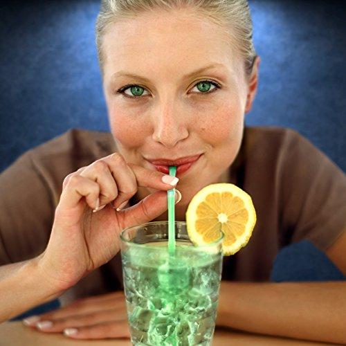 FlashingBlinkyLights Green Glow Stick Drinking Straws (Set of -
