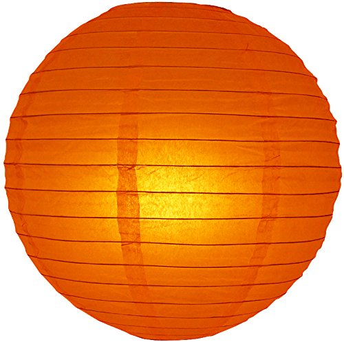 "Quasimoon 16"" Persimmon Orange Round Paper Lantern, Even Ribbing, Hanging Decoration by PaperLanternStore"