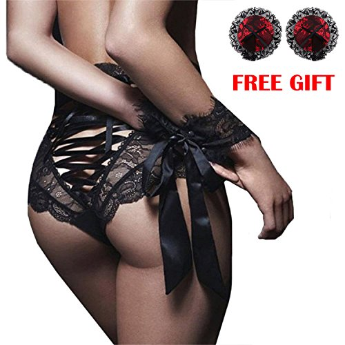 - Letsfree Women's High Waist Lace Up Back Panties Briefs Thongs Lingerie Underwear Knickers