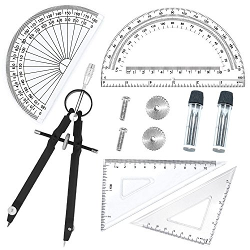5 Piece Geometry School Set,with Quality Compass, Set Squares, Protractor,Drawing Compass Math Geometry Tools (5 ()