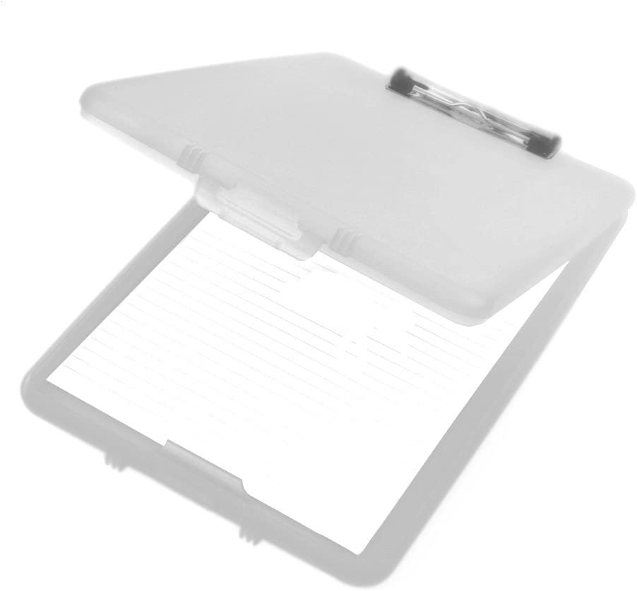 A4 Plastic Compact Clipboard Paper Storage Box File Clear 33.5cm x 24cm