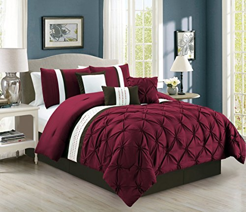 (7 Piece Pinched Pleat Burgundy Comforter Set King)