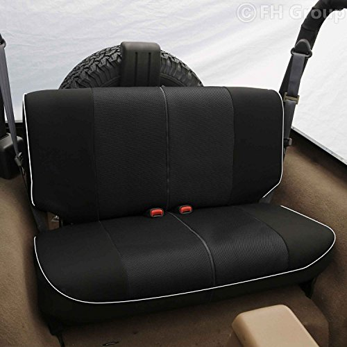 Fabric Rear Bench Jeep Seat - FH Group FB063010S2 Cloth Car Bench Seat Covers with Piping Rear Set for Jeep Wrangler Black