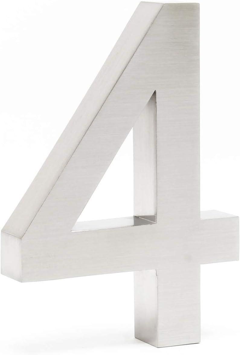 N/úmero de casa4 3D Acero inoxidale 20cm Arial Resistente intemperie y corrosi/ón Material montaje
