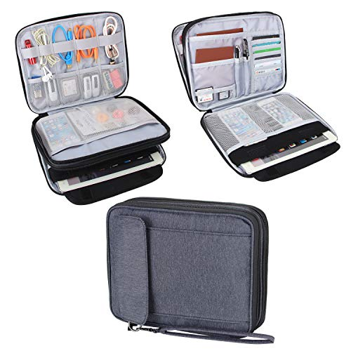 Damero 2 Layer Electronics Organizer Bag, Universal Electronic Accessories Travel Case Storage for USB Cable, Flash Driver, Phone and More, Black