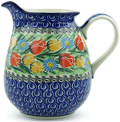 Polish Pottery 3½ cups Pitcher made by Ceramika Artystyczna (Breathtaking Tulips Theme) Signature UNIKAT + Certificate of Authenticity by Polmedia Polish Pottery (Image #3)