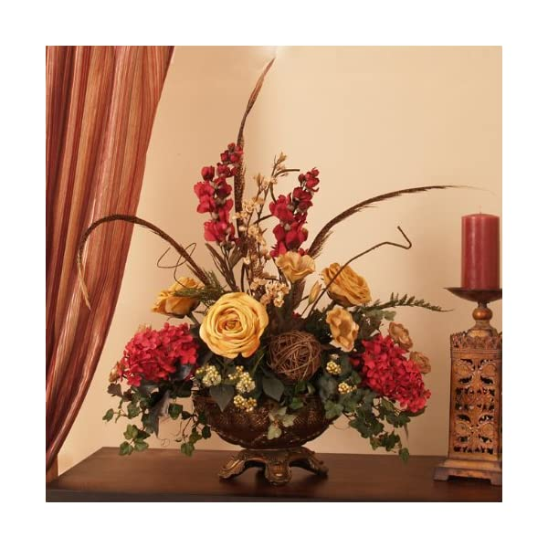 Rose, Hydrangea and Feathers Silk Floral Arrangement
