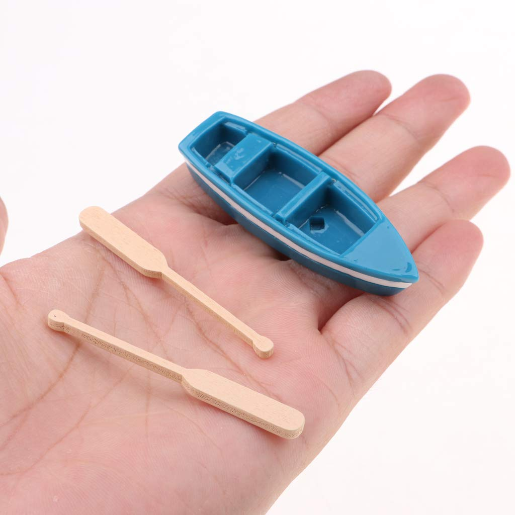 KESOTO 10 Set 1//12 Dollhouse Blue Kayak Canoe Boat For Campers Camping Ornament Craft