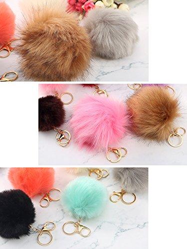 WILLBOND 12 Pieces Faux Fur Ball Pom Pom Keychain Fluffy Ball Key Chain with Key Ring for Handbag Bag Decoration, 8 cm, 10 cm, 14 cm by WILLBOND (Image #5)