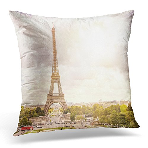 Golee Throw Pillow Cover Sunset Eiffel Tower and Paris City View Form Triumph Arc From Champ De Mars France Beautiful Romantic Decorative Pillow Case Home Decor Square 18x18 Inches Pillowcase (Summer Screen Triumph)