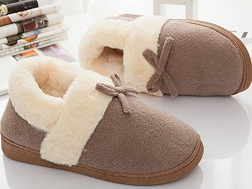 Maybest Unisex Womens Men Cotton Home Slippers Winter Warm Indoor Slippers Fashion Couple Shoes With Bowknot Coffee for Men 3CUc7