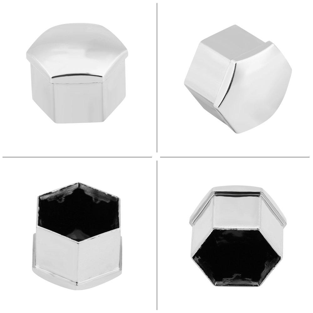 Keenso 20Pcs 17mm Cubiertas de cubo Cubiertas de cubo de rueda de neum/ático de coche universal Tapa de tuerca Tornillo Tornillo Tapa de protecci/ón Plata