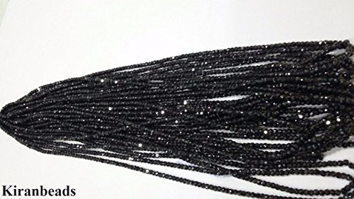 KIRANBEADS - 1 Strand Black Diamond Cubic Zirconia Gemstone Micro Faceted Rondelle Beads - Beads Measure About 2.5-3mm 15 Inch Long Strand