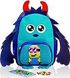 EPIC KIDS Mini School Backpack for children - Cute Girls and Boys Preschool kindergarten Backpack with Blue Monster Design - Colorful Personalized DIY lego Pocket - Emoji Gift Bags for Kids