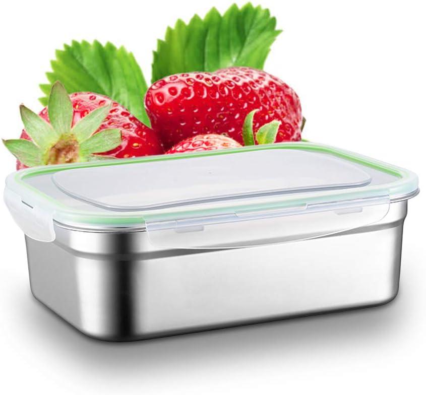 N//D Yisika Caja de Acero Inoxidable Caja de Almuerzo con Tapa de Pl/ástico 1L Caja de Alimentos Ideal para Almuerzos Escolares y Ensalada