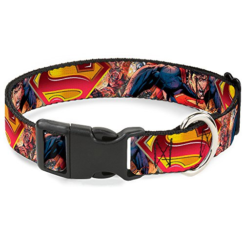 Buckle-Down Plastic Clip Collar - Superman Unchained Explosion Action Pose/Wraith/Shield Golds/Reds - 1/2
