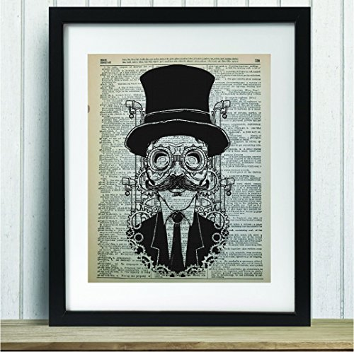 Upcycled Vintage Dictionary Art Print - Steampunk Man - 8x10 Unframed