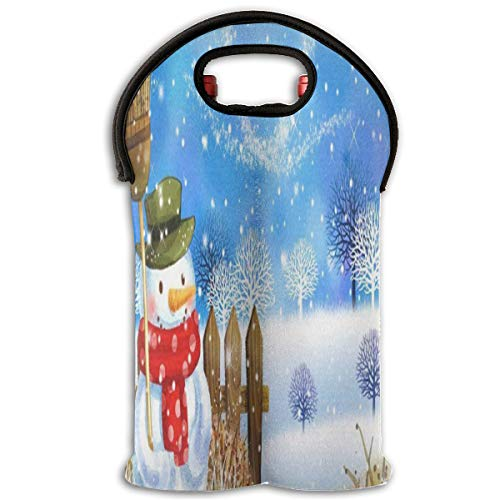 Wine Bag Fashionable Christmas Snowman Snowflake 2 Bottle Red Wine Tote Bag Protective Water Handle - Birthday Party 2 Rio Supplies