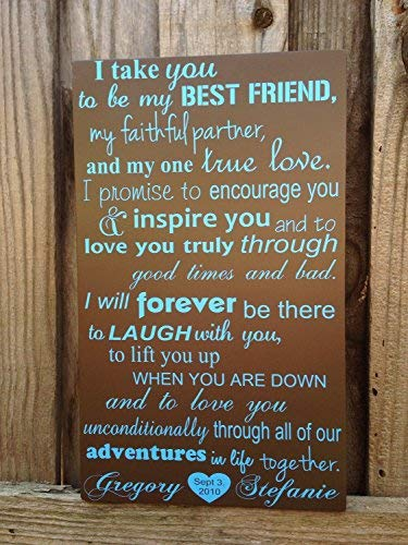 JeanLowell 5th I Take You to Be My Best Friend Wedding Vows Wood Sign Custom Personalize 12x20 Fifth Typography Art