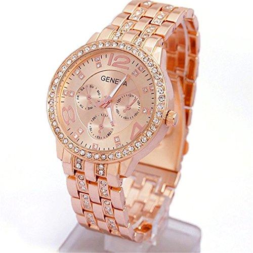 Women Wrist Watch + Band Link Pin Remover, Mingus Adjustable Classic Alloy Round Geneva Crystal Rhinestone Quartz Wrist Watch - Rose Gold