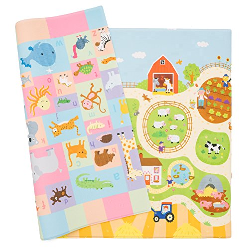 Baby Care Play Mat – Playful Collection (Busy Farm, Large) – Play Mat for Infants – Non-Toxic Baby Rug – Cushioned Baby Mat Waterproof Playmat – Reversible Double-Sided Kindergarten Mat